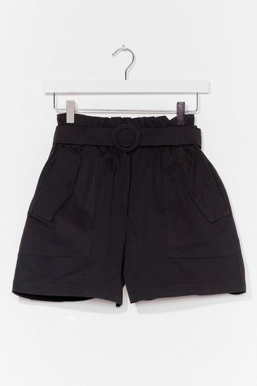 Black Short Cut High-Waisted Belted Shorts