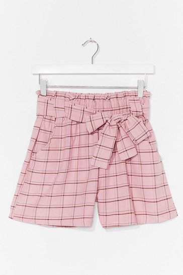 Pink Keep 'Em in Check High-Waisted Belted Shorts