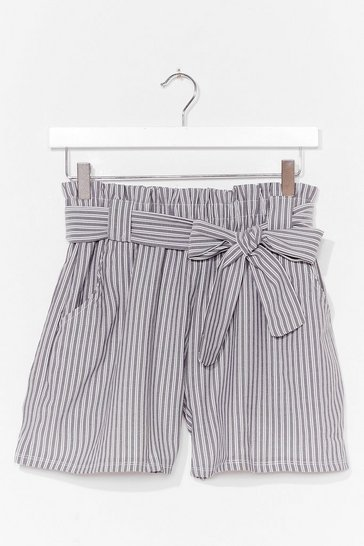 Grey The Time is Stripe High-Waisted Belted Shorts