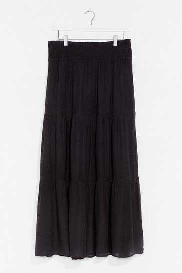 Black Tier We Are Again Chiffon Maxi Skirt