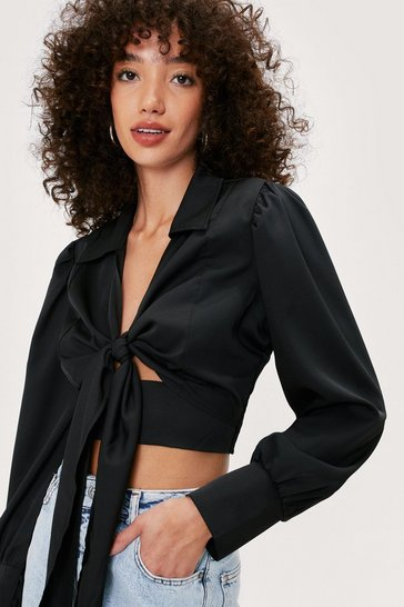 Black Tie Front Puff Sleeve Cropped Blouse