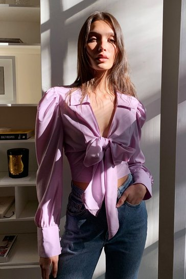 Lilac Tie Not Puff Sleeve Cropped Blouse