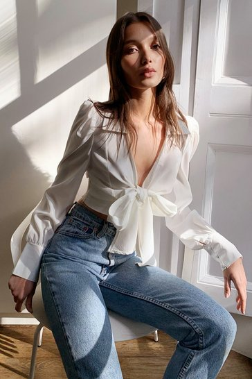 White Tie Front Puff Sleeve Cropped Blouse