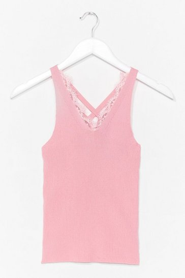 Pink Play to Trim Lace Tank Top