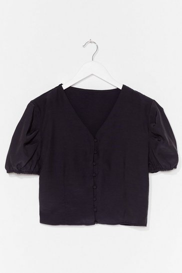 Black Hit My Buttons Cropped Blouse