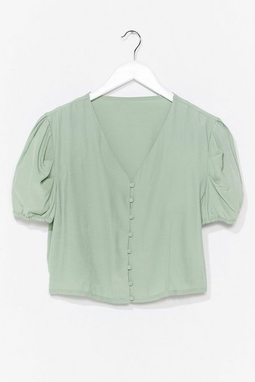 Mint Hit My Buttons Cropped Blouse