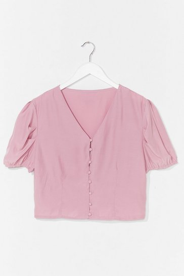 Pink Hit My Buttons Cropped Blouse