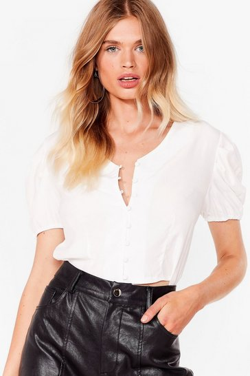 White Hit My Buttons Cropped Blouse