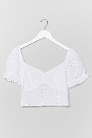 White Just Sew You Know Broderie Anglaise Crop Top