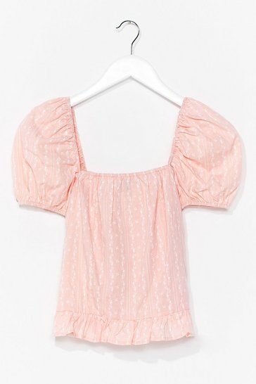 Pink Shirred You're Back Puff Sleeve Blouse
