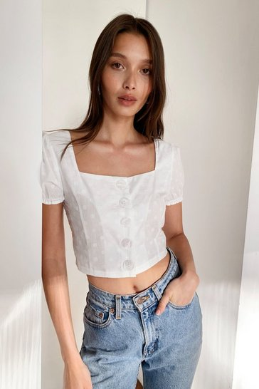 White Puff Sleeve Crop Blouse