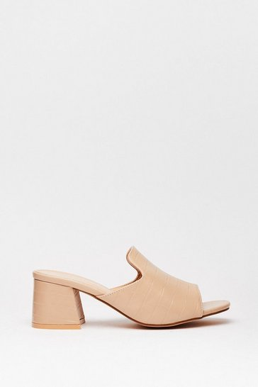 Beige Too Mule for School Heeled Loafer Mules