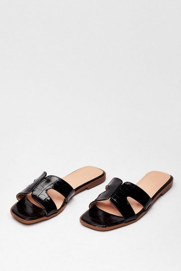 Black Croc What We Expected Faux Leather Flat Sandals