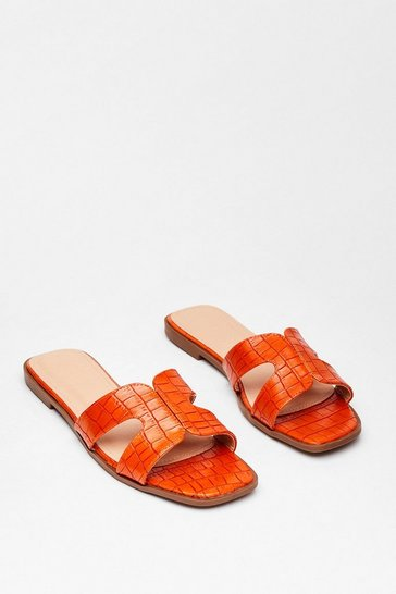 Orange Croc What We Expected Faux Leather Flat Sandals