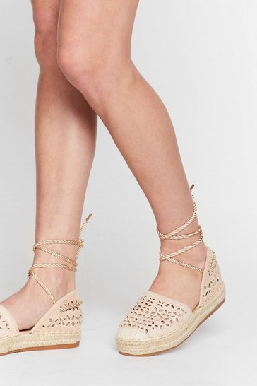 Beige It's Crochet With Us Tie Espadrille Sandals
