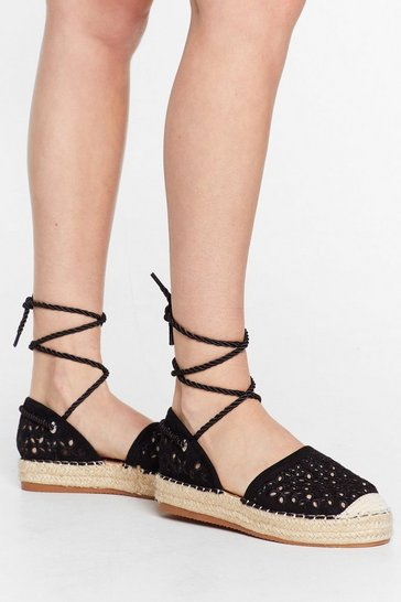 Black It's Crochet With Us Tie Espadrille Sandals