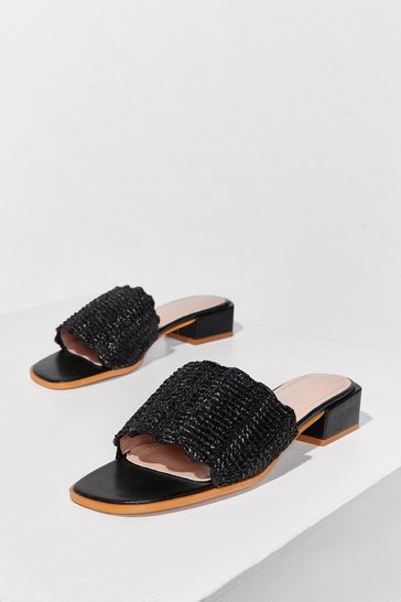 Black Woven Our Favorite Faux Leather Heeled Sandals