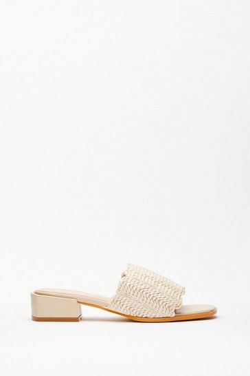 Beige Woven Scallop Edge Mule Sandals
