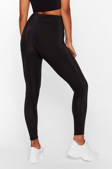 Black One More Time Ruched Workout Leggings