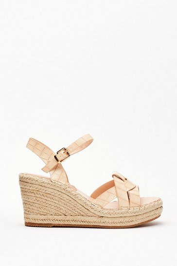 Beige Faux Croc Loop Raffia Wedges