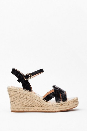 Black Faux Croc Loop Raffia Wedges