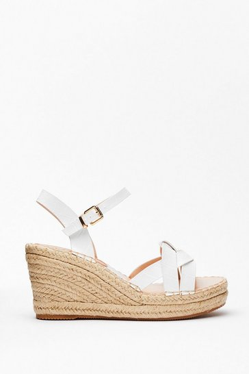 White Faux Croc Loop Raffia Wedges