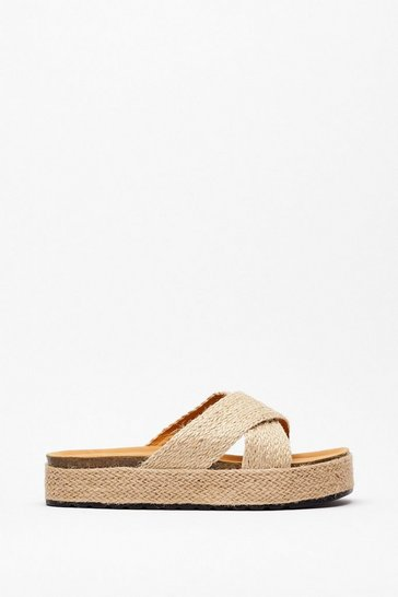 Beige Woven Cross Strap Flatform Footbed Sandals