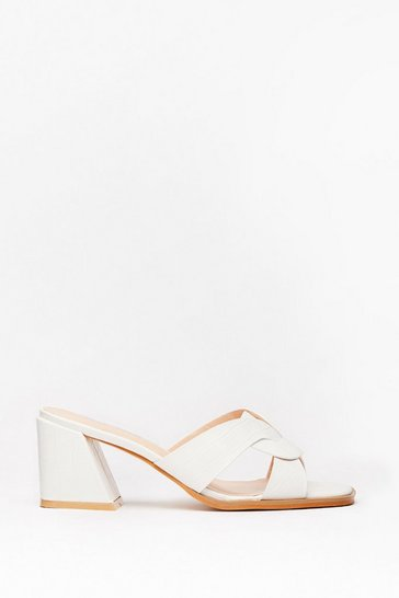 White Play Flare Croc Heeled Mules