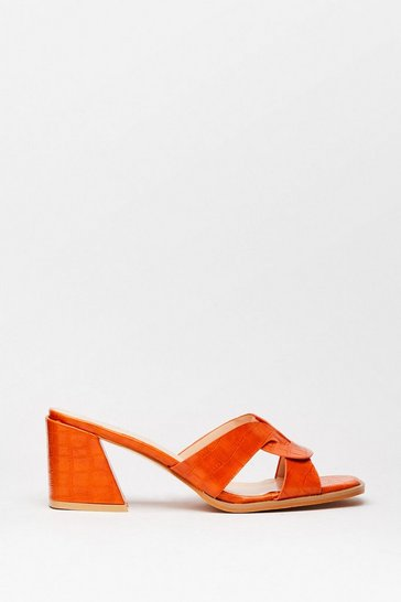 Orange Play Flare Croc Heeled Mules