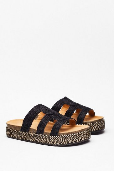 Black Woven Flatform Footbed Sandals