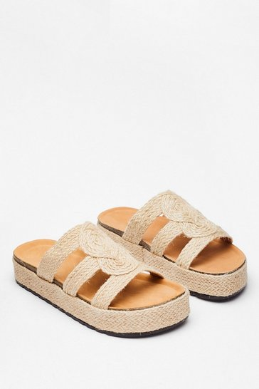 Beige Woven Flatform Footbed Sandals