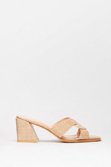 Beige Play Flare Croc Heeled Mules