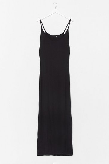 Black Throw On and Go Strappy Maxi Dress