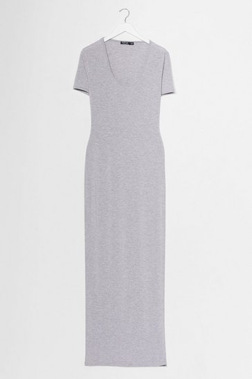 Robe moulante longue à col V Je V être la plus stylée, Light grey