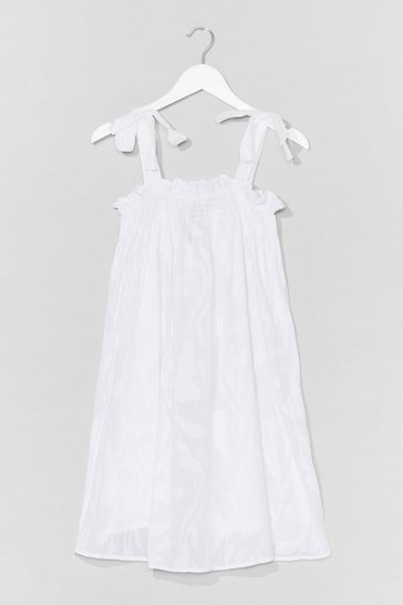 White Tie to Me Tiered Mini Dress