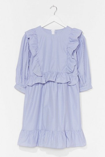 Blue FRILL DETAIL PUFF SLEEVE MINI DRESS