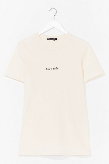 Natural Stay Safe Graphic Tee