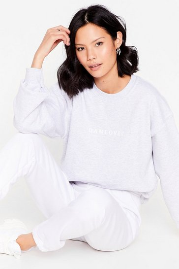 Grey Gameover Baby Oversized Graphic Sweatshirt