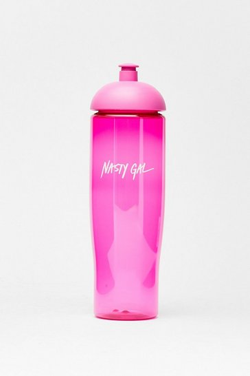 Pink Branded Pull Up Lid Water Bottle