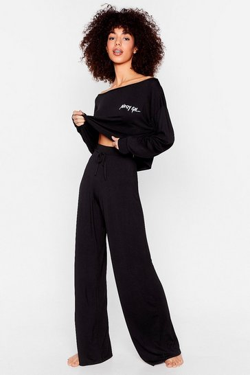 Black Nasty Gal Word on the Street Wide-Leg Lounge Set