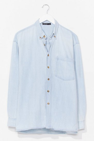 Light blue Vintage Oversized Button Down Denim Shirt