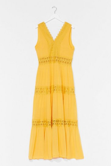 Yellow Tier for It Broderie Anglaise Midi Dress