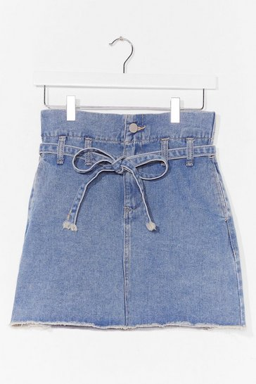 Blue Wash What Happens Belted Denim Mini Skirt