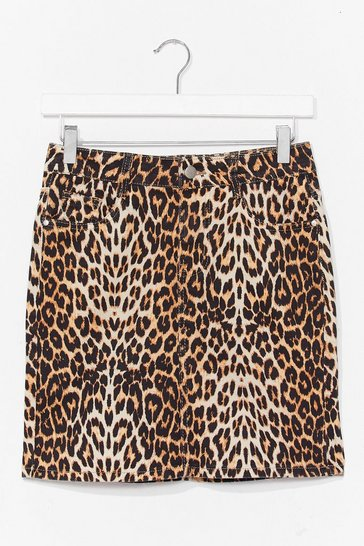 Brown Leopard Denim Mini Skirt