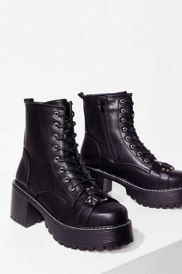 Black Ready to Rock Faux Leather Biker Boots