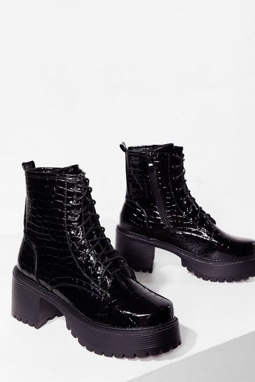 Black Ready to Rock Faux Leather Croc Biker Boots