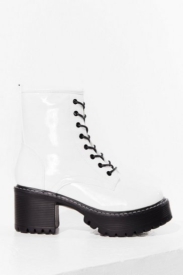 White Walk Out Patent Faux Leather Lace-Up Biker Boots