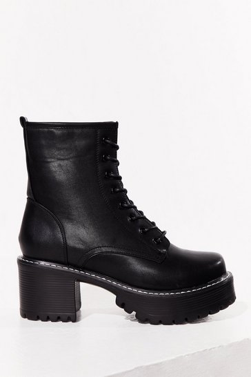 Black Walk Out Faux Leather Lace-Up Biker Boots