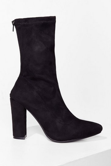 Black Sock It to 'Em Faux Suede Heeled Boots