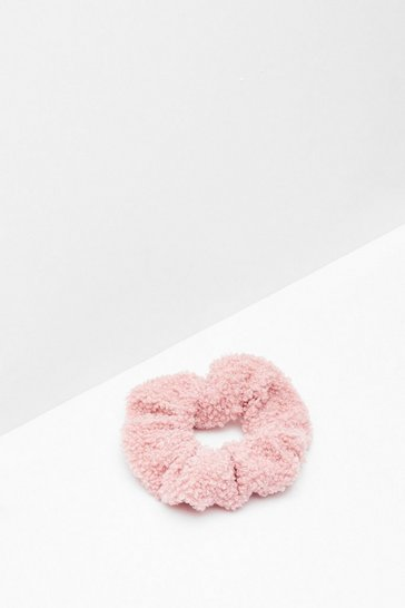 Blush Shearling It Over Scrunchie